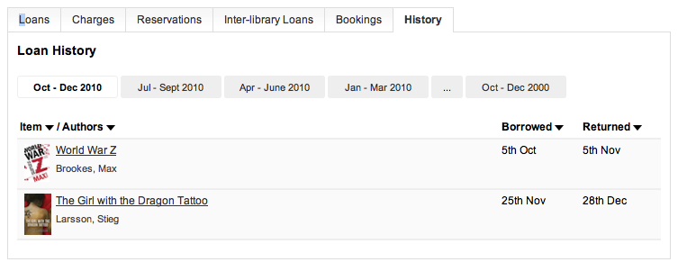 Loan history - showing navigation and sorting options