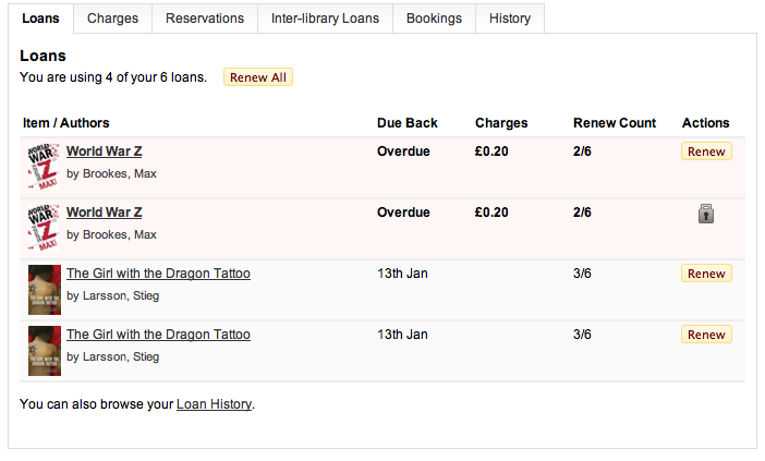 Current Loans - showing extra item detail, highlighting of overdue and renew all button.