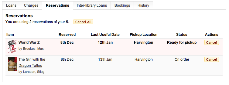 Reservations - showing pickup point, and highlights to ready for pickup status.